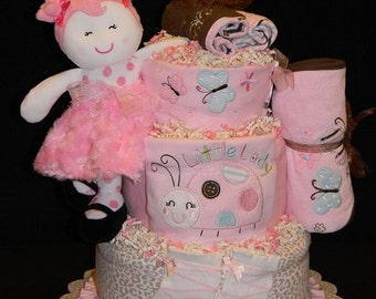 Sugar-N-Spice Diaper Cake 3 Tier - Very Girly Loaded Diaper Cake