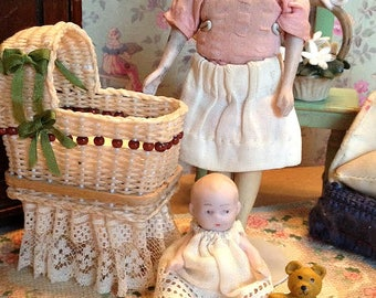 Antique Miniature German Bisque Baby Doll for Dollhouse