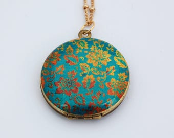 Vintage Locket Necklace with Turquoise and Gold Floral Wallpaper Print Photograph Placement Custom Jewelry Personalize Gifts Lockets Gift