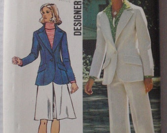 SALE - 70's Princess Seam Jacket, Skirt and Pants Sewing Pattern - Simplicity 5454 - Size 42, Bust 46, Uncut