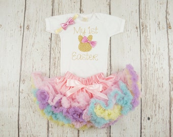 my 1st easter outfit, girl easter outfit, easter tutu dress, easter tutu outfit, baby girl easter, baby bunny shirt, 1st easter shirt, gold