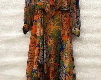 Retro Floral Sheer Long Sleeve Dress