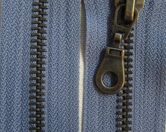 65 cm grey zipper closure detachable brass Prym