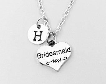Bridesmaid Necklace, personalized necklace, bridesmaid charm necklace, wedding necklace, friend, sister necklace, monogram necklace, initial