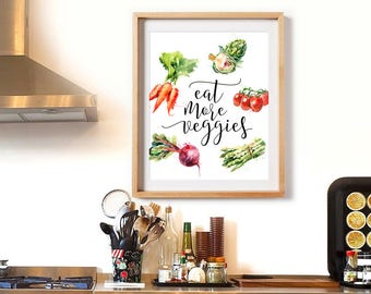 Kitchen Print, Eat More Veggies, Kitchen Wall Art, Watercolor, Kitchen Decor, Carrots Printable, Culinary Print, Vegetables Printable