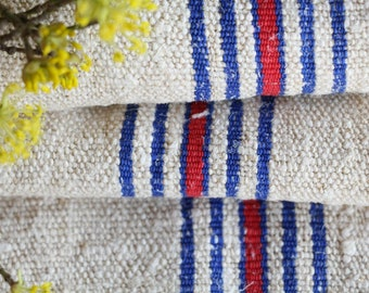 SP 31: antique, NAUTICAL BLUE Cherry Red,  5.90y, lin, upholsteryric, tablerunner, cushion, decor, french lin, fabric by the yard