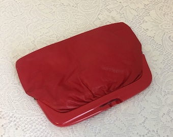 vintage red clutch, vintage red purse, italian leather handbag
