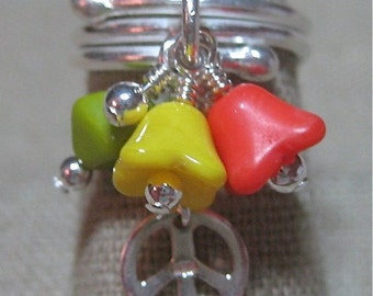 Retro Peace Cluster Dangle Ring in Bright Green, Yellow & Deep Orange Czech Glass - R139
