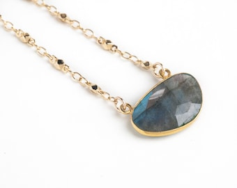 Labradorite and Gold Chain Necklace-labradorite necklace, layering necklace, gold necklace, gemstone necklace, boho, statement necklace