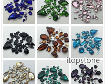 Mix Shapes Sizes Stone Assorted Crystal Fancy Shape DIY Jewelry Making Black,Aquamarine,Pink,Cobalt More Colors