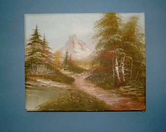 1970s Mountain Landscape Oil Painting Original Art Wall Hanging Home Decor