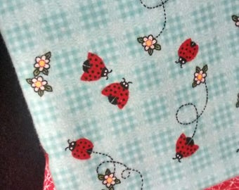 Lady Bug Hemstiched Baby Blanket