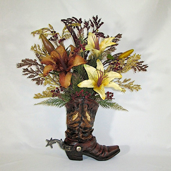 Silk Floral Arrangement Resin Cowboy Boot Vase With Brown And