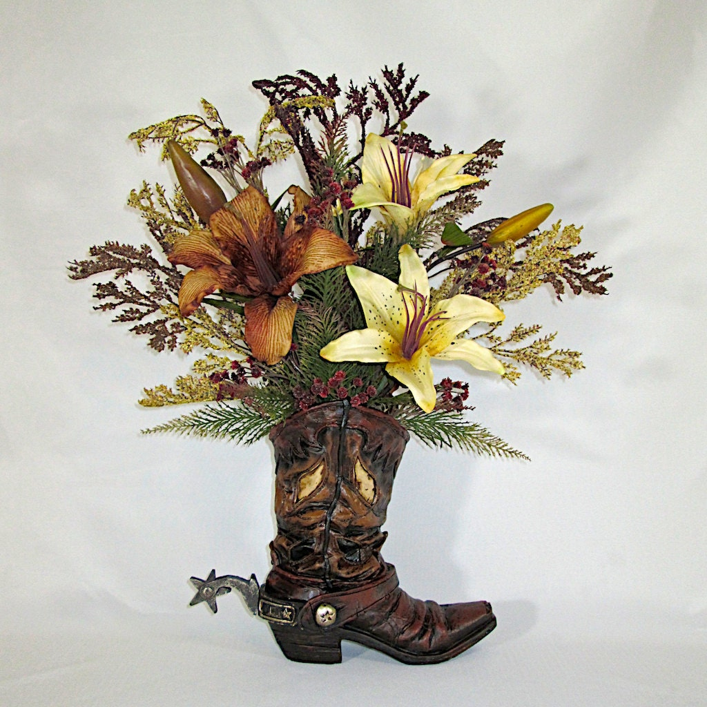 Silk floral arrangement resin cowboy boot vase with brown and zoom reviewsmspy