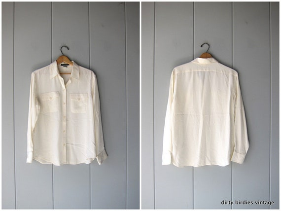 Soft White Silk Blouse Loose Fit 90s Long Sleeve Silk Shirt Basic Minimal Top Plain Silk Modern Casual Blouse Vintage Womens 10 Medium