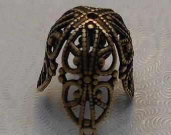 LuxeOrnaments Large Oxidized Brass Filigree Bead Cap 17x16mm (1 pc) S-9038-1-B