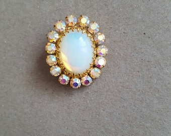 Imitation opal vintage pin brooch with multicoloured rhinestones with gold tone metal setting. Ideal Mothers day birthday gift retro kitsch