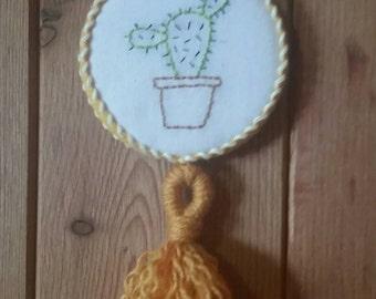 Mini embroidered cactus decor
