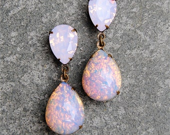 Pink Opal Earrings Vintage Swarovski Crystal Earrings Tear Drop Pear Post Dangle or Clip on Rhinestone Earrings Duchess Hourglass Mashugana