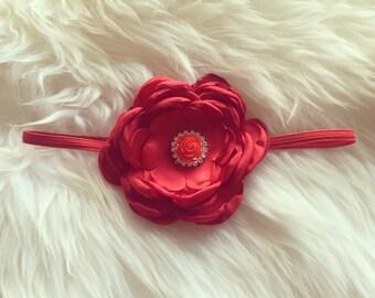 Red Satin Floral Headband, Toddler Headband, Newborn Headband, Baby Headband.