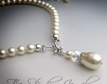 ALLISON - Swarovski Pearl Teardrop Y-shaped Bridal Necklace