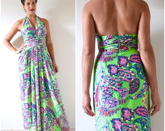 Vintage 60s 70s Psychedelic Halter Back Maxi Dress (size xs, small)