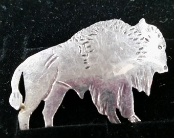 Sterling silver vintage buffalo