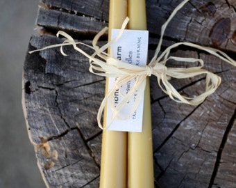 "Tapered beeswax candle set - 10"" long"