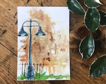 ORIGINAL ARTWORK - Watercolor PRINT - Watercolor Painting - Wall Art - Watercolor Decor - Minnesota Inspired Art - Urbansketch Painting -5x7