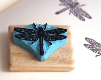 Ladybug stamp, hand carved, wood mounted