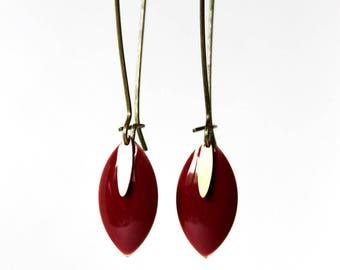 Enamelled Sequin plum earrings