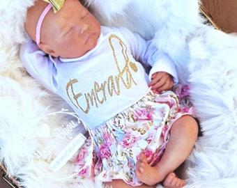 Baby Girl Clothes Floral, Newborn Girl Take Home Outfit, Coming Home Outfit, Newborn Girl Hospital Outfit, Pink Gold Baby Clothing