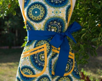 NEW - Apron - Vintage Style Retro - Mediterranean (Blue)