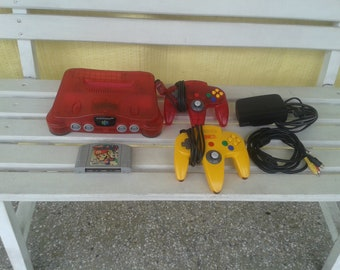 Nintendo 64 color Red/Red color/2 controls/1 set
