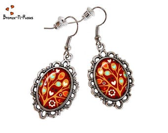 """Tree of LovE"" earrings cabochon flowers red silver costume jewelry"