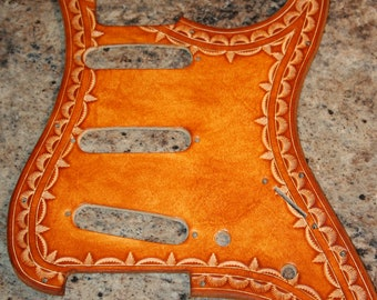 Leather Pick Guard - Fender Stratocaster SSS - Hand Tooled - USA MIM Strat Models