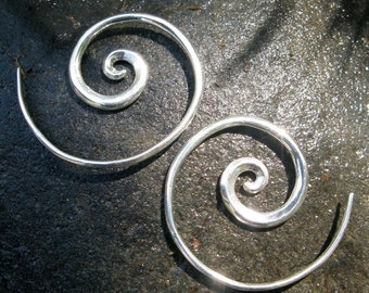 "Spiral Earrings - Sterling Silver - Small Hoop Earrings - Minimalist Jewelry - Bestselling Earrings - Gift For Her - 1.25"" Hoop (S36)"