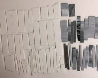 3 pounds white and gray scrap glass for stained glass or mosaic