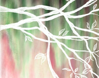 DIGITAL DOWNLOAD - Original tree painting available for digital download - Black, pink, green & white - high resolution jpg