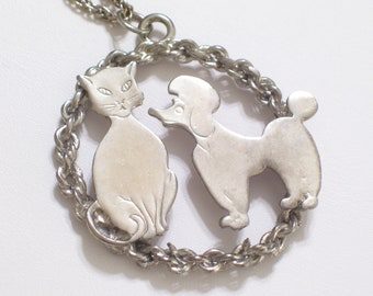 Vintage Silver Plated Dog and Cat Medallion Pendant Necklace, Feline Necklace, Canine Necklace, Animal Jewelry