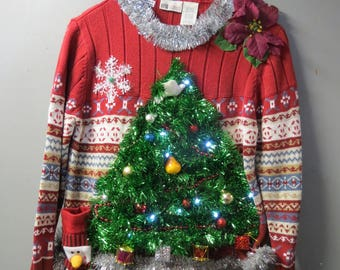 A Turtle Dove, a Pear & Presents  in a Christmas Tree Tacky Ugly Christmas Sweater light up size Large, 12/14   Christmas Sweater Boys Girl