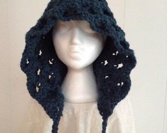 Stunning Crocheted Hood in Chunky Teal & Grey Color with Tie-Ups
