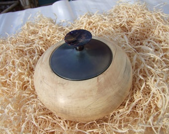 spalted sycamore hollow form with metallic lid
