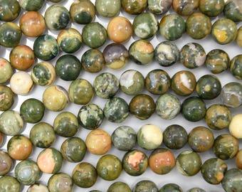 "6mm green rhyolite round beads 15.5"" strand 38394"