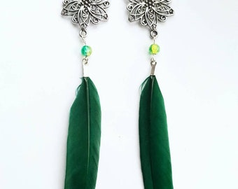 Green/purple feather chandelier earrings