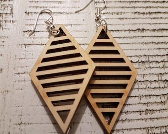 Wooden Diamond Bar earrings