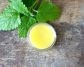 Lemon Balm Salve, Herbal Lemon Balm Lip Baln, Natural Lip Salve, Organic Lemon Balm Salve, Natural Lemon Balm Salve, Herbal Lip Balm