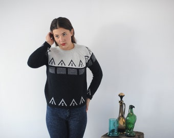 Black and White Geometric 80s 90s Sweater by Carol Baker