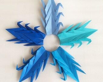 "100 6"" Blue Tones Origami Paper Cranes - Wedding Decoration, Party Decoration, Events"