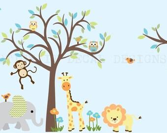 Safari Animal Wall Decal, Nursery Wall Decal, Jungle Animal wall decal, monkey decal, Lolli Chevron Design